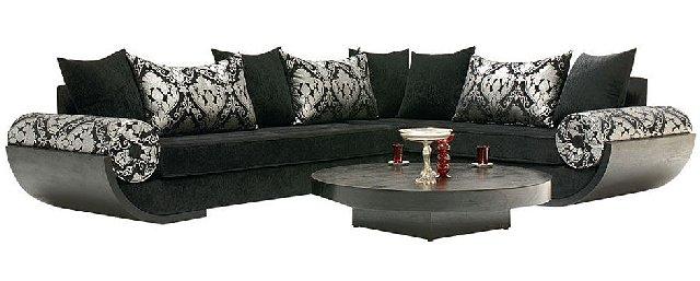 Salon marocain noir confortable d co salon marocain for Salon confortable