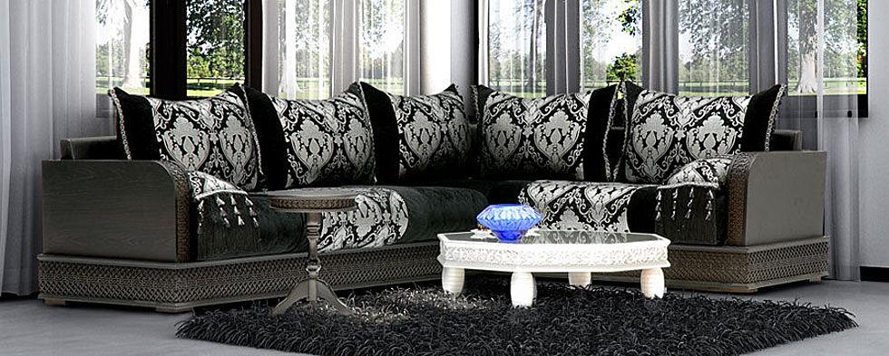 Salon marocain couleur noir et gris d co salon marocain for Salon oriental gris