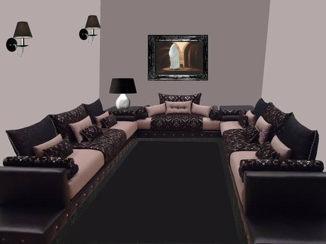 mod le salon marocain confortable 2015 d co salon marocain. Black Bedroom Furniture Sets. Home Design Ideas