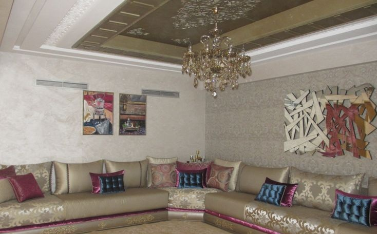 Photos de salon marocain design 2015 d co salon marocain for Modele de decoration salon