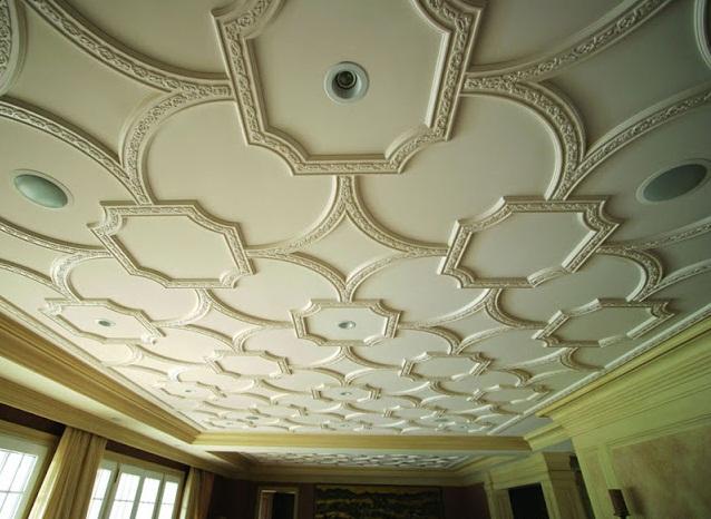 plafond decoratif lumineux ave spots salon marocain