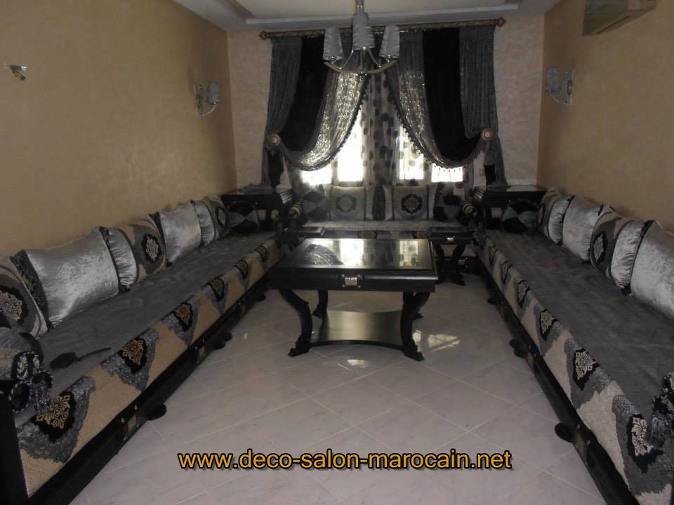 salon marocain velours Lhaf Noir
