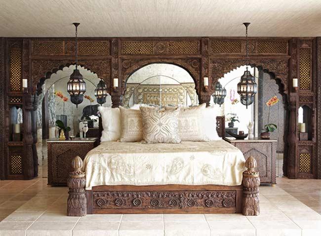 Décoration de tête de lit style marocain orientale en bois