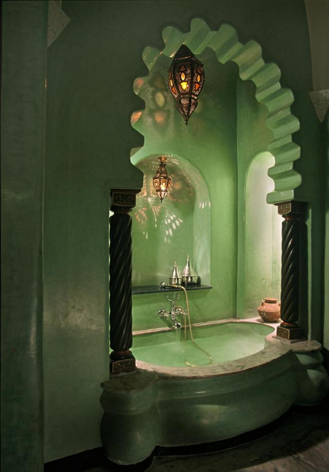 salle bain marocaine en couleur verte - Modele Salle De Bain Orientale