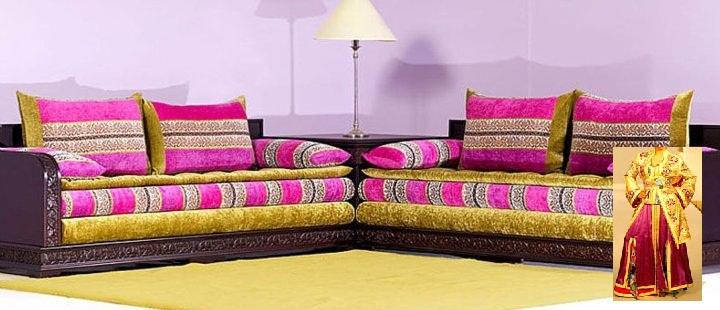 Salon Marocain Rose Fushia : Salon marocain couleur rose pour une décoration moderne