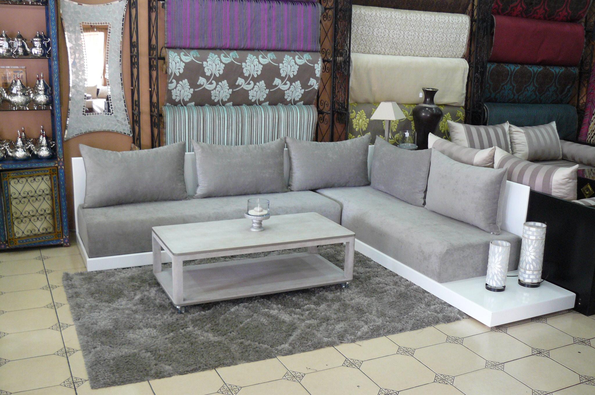 salon marocain simple gris perlé