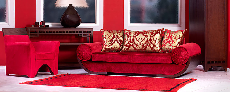 Salon marocain traditionnel design moderne for Salon moderne rouge