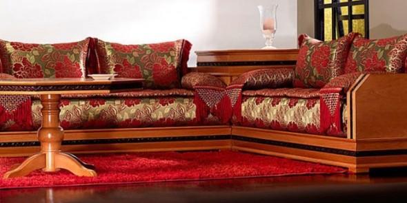 salon marocain tres chic - Canape Marocain Rouge