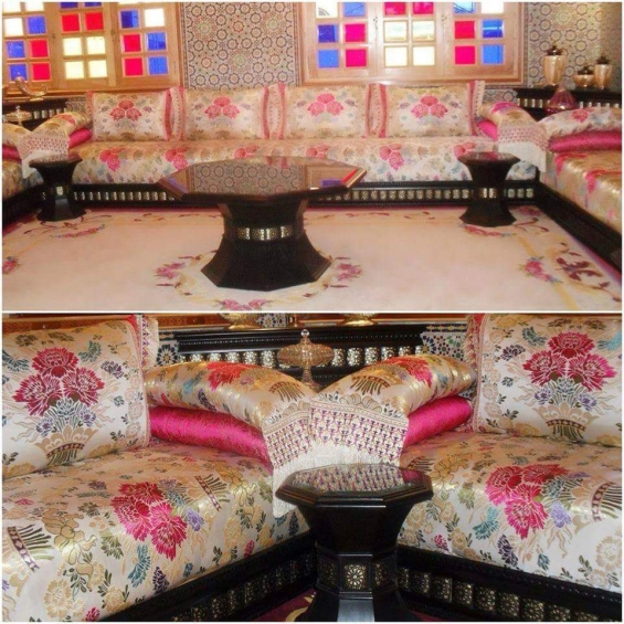 choix de tissu benchrif salon marocain traditionnel d co salon marocain. Black Bedroom Furniture Sets. Home Design Ideas