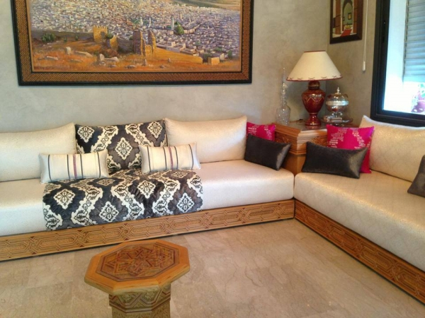 Salon Beldi Marocain : Salon marocain traditionnel design moderne