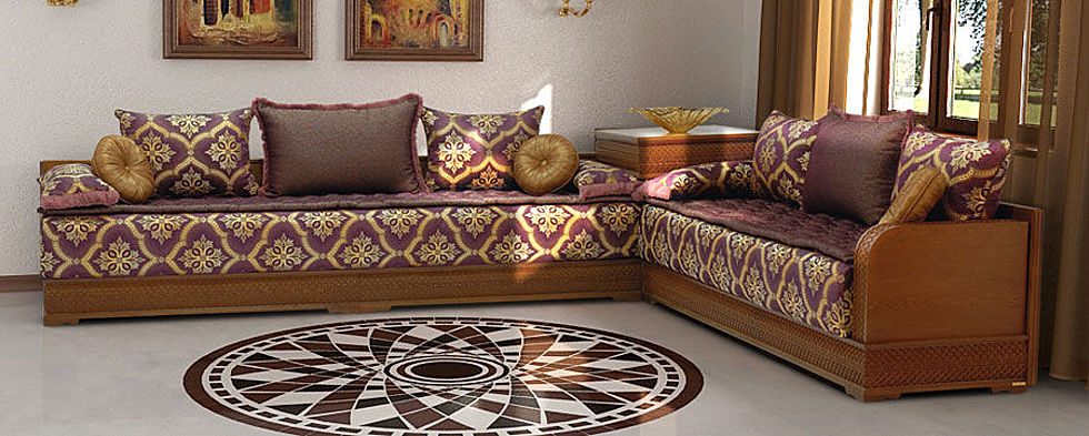 Salon marocain beldi style traditionnel vendre d co for Salon en bois moderne