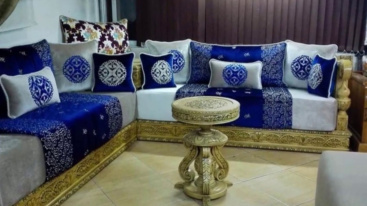 tissu benchrif pour salon marocain 2018 d co salon marocain. Black Bedroom Furniture Sets. Home Design Ideas